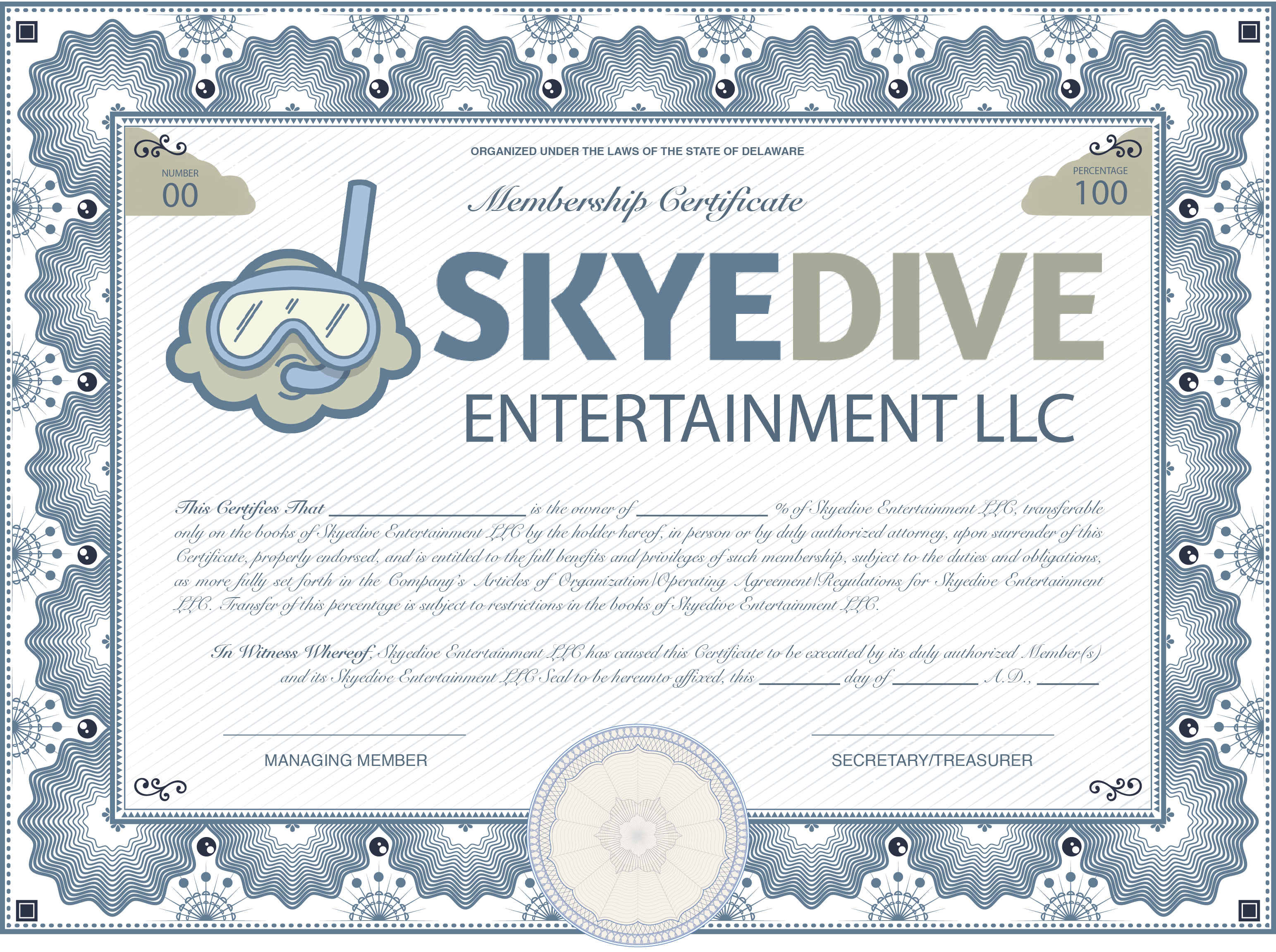 Skyedive_LLC_Membership_Certificate